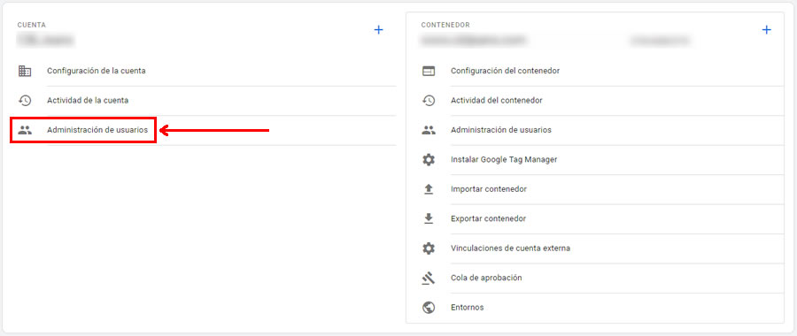 Administración de usuarios Google Tag Manager