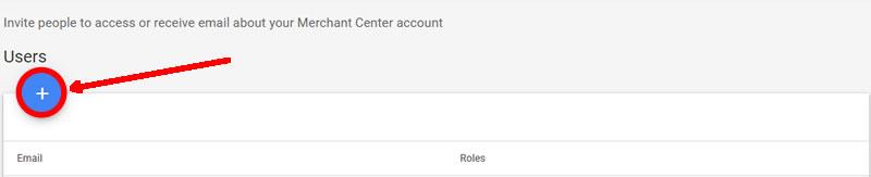 Añadir usuario Usuarios Google Merchant Center