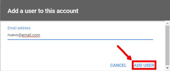 Agregar cuenta de correo Usuarios Google Merchant Center