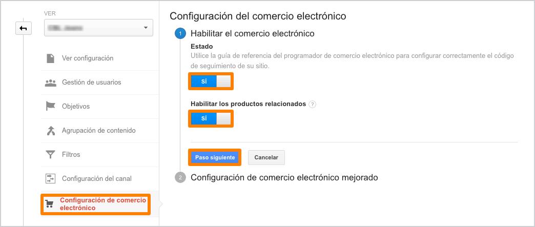 Habilitar configuración de comercio electronico - paso 1