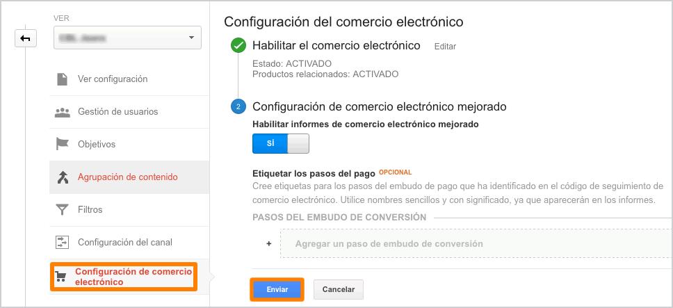 Habilitar configuración de comercio electronico - paso 2