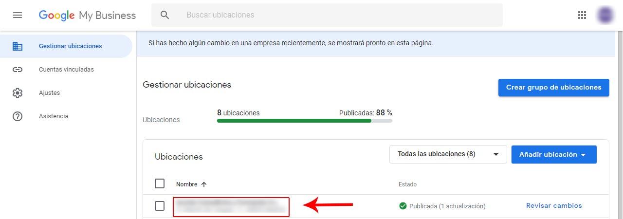 Google My Business - Gestionar ubicaciones