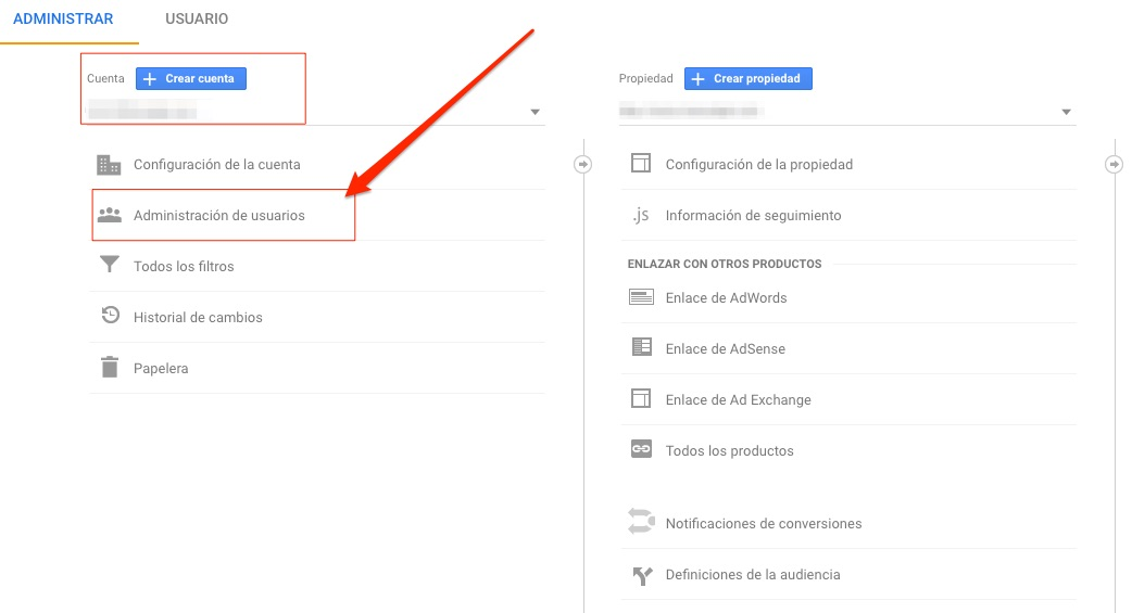 Administración usuarios Google Analytics