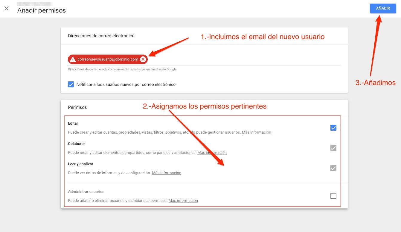 Añadir permisos Google Analytics