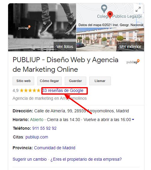 Ficha de Google My Business de PubliUP