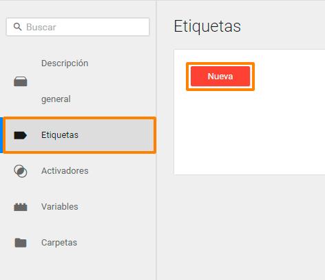 """Crear etiqueta """"Nueva"""" en GTM"""