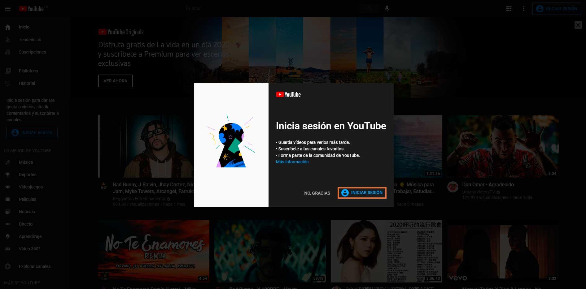 Iniciar sesión en YouTube