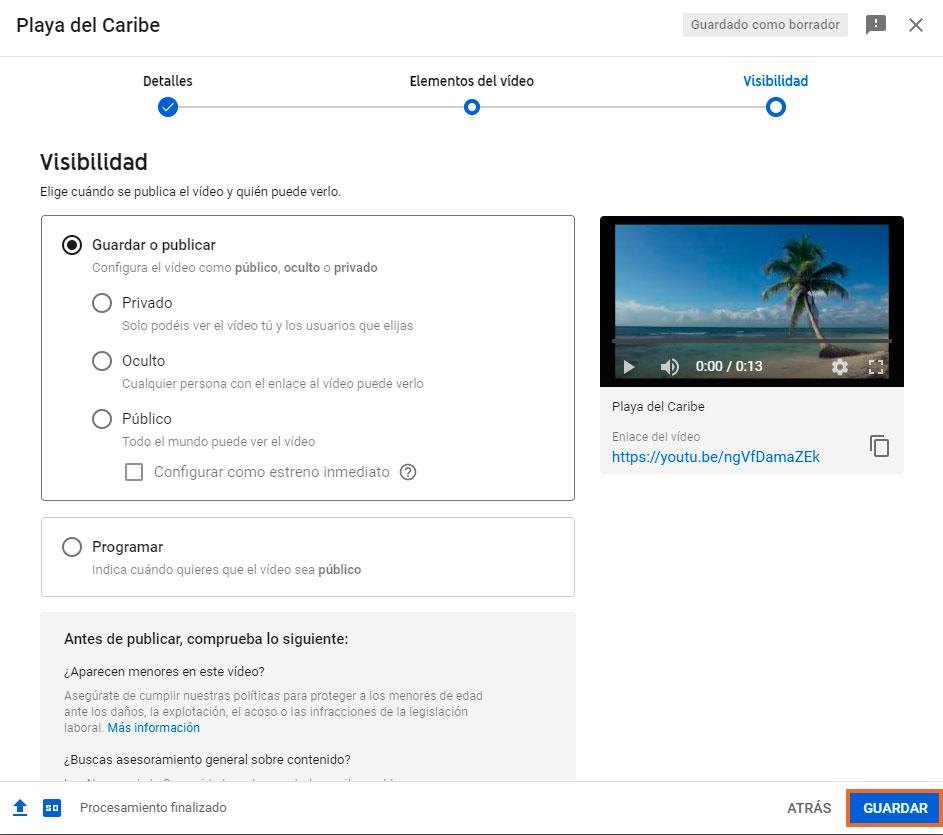 finaliza configuración vídeo youtube