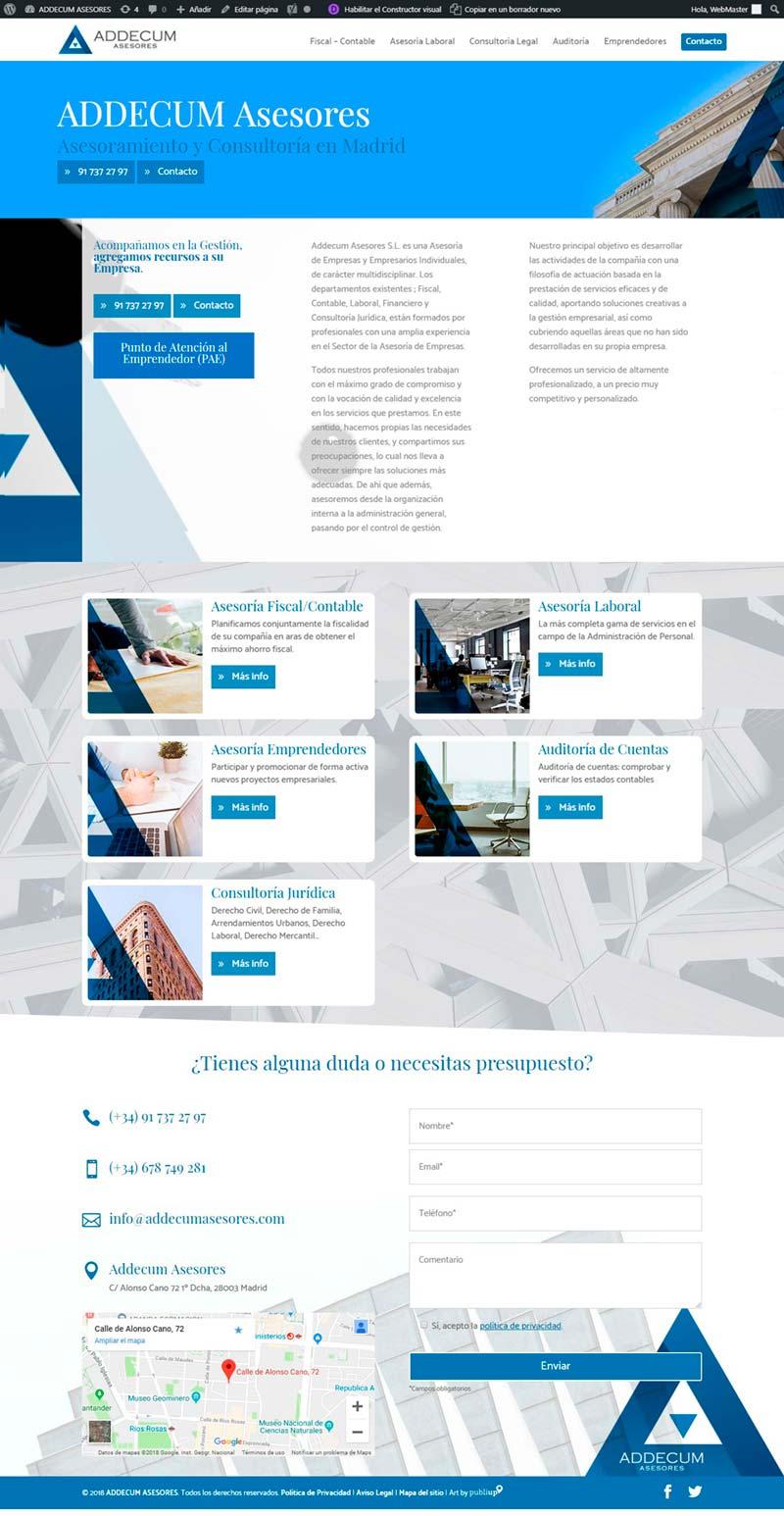 Web con gestor de contenidos Addecum Asesores