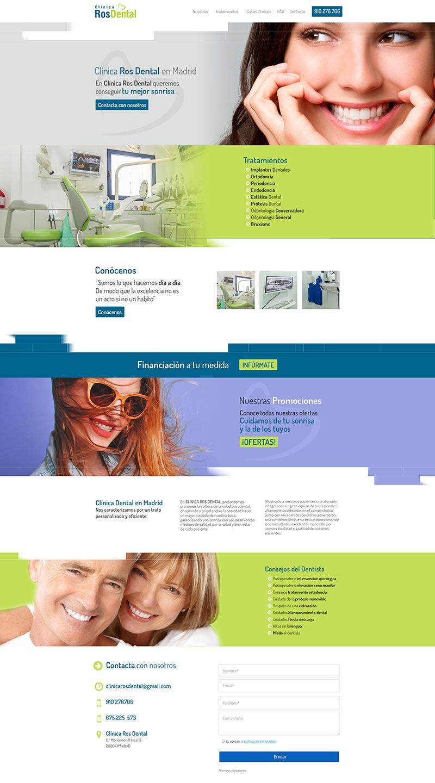 Web con gestor de contenidos Clínica Ros Dental