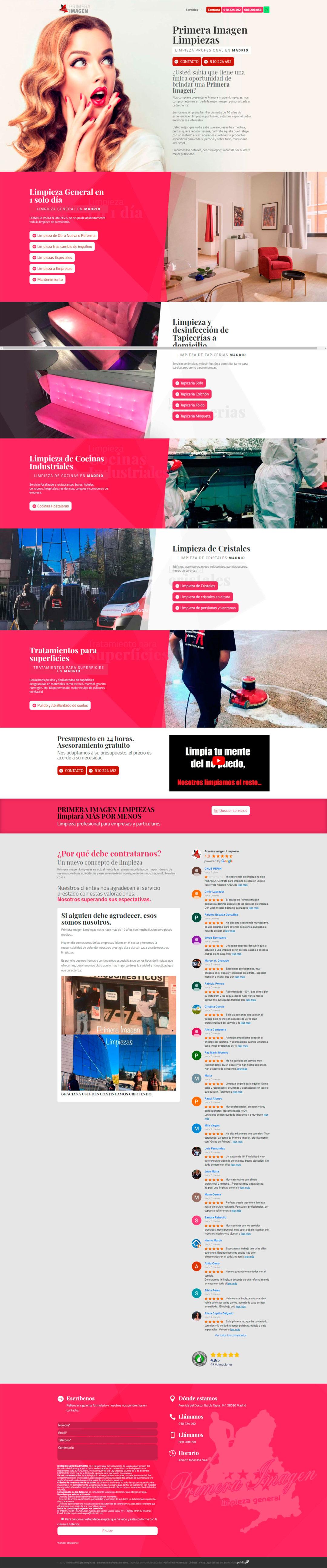 Diseño Web: Primera Imagen Limpiezas